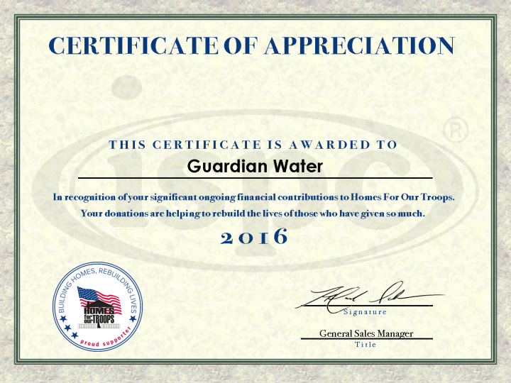 Guardian Water Home for Our Troops Certificate for 2016