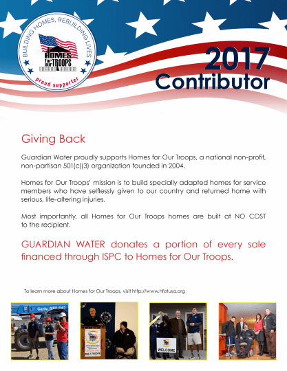 2017 Contributor Guardian Water - Home for our Troops