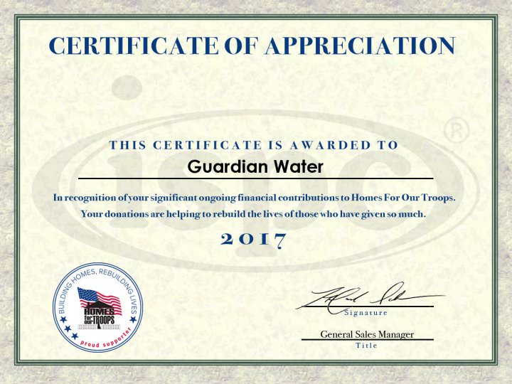 Guardian Water Home for Our Troops Certificate for 2017