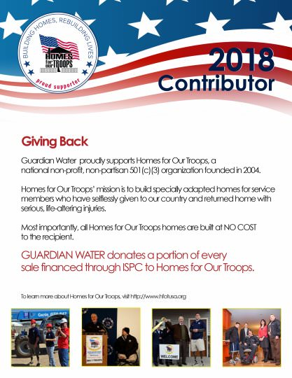 2018 Contributor Guardian Water - Home for our Troops
