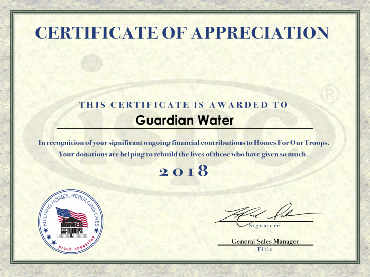 Guardian Water Home for Our Troops Certificate for 2018