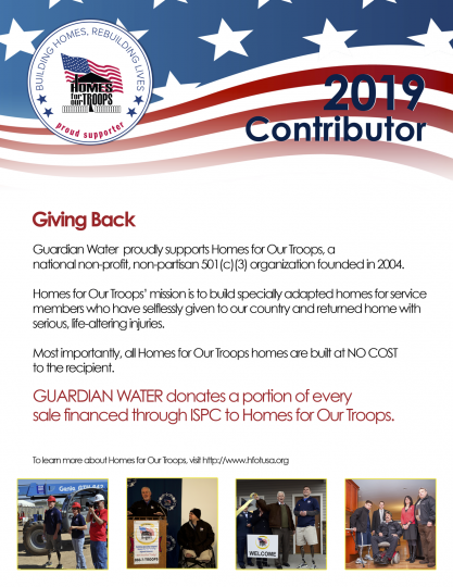 2019 Contributor Guardian Water - Home for our Troops